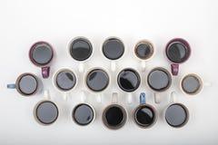 大角度看法咖啡在白色backgroung的分类 库存照片