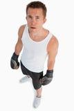 大角度观点的常设拳击手 图库摄影