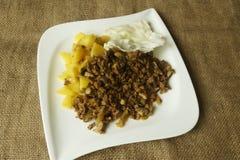 大豆粒子拥有土豆食谱 库存图片