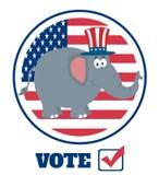 大象与山姆大叔帽子的漫画人物在美国旗子标签和文本 库存图片