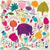 大象和五颜六色的春天样式 向量例证