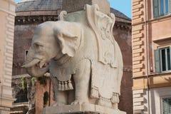 大象和方尖碑在广场della智慧女神在罗马,意大利 库存图片
