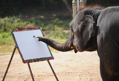 大象和绘画 免版税库存照片