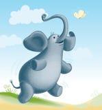 大象和蝴蝶 免版税库存照片