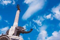 大象喷泉是卡塔尼亚的标志在西西里岛 意大利 库存图片