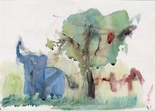 大象在庭院里 免版税库存照片