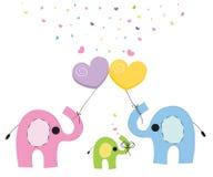 大象家庭婴孩贺卡传染媒介 免版税库存照片