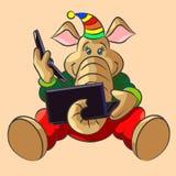 大象小牛和膝上型计算机 免版税库存图片