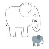 大象彩图 密林大动物有长的树干的 免版税库存图片