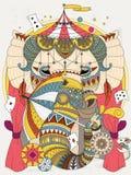 大象成人着色页 免版税库存照片