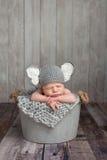 大象服装的新出生的男婴 免版税图库摄影