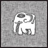 大象木刻 免版税图库摄影