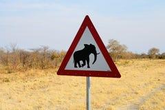 大象横穿标志,博茨瓦纳 库存图片
