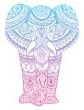 大象的风格化头 大象的装饰画象 用手画的颜色 印第安语 坛场 向量 向量例证