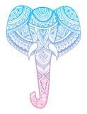 大象的风格化头 大象的装饰画象 用手画的颜色 印第安语 坛场 向量 库存例证