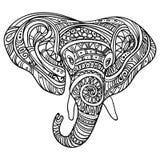 大象的风格化头 大象的装饰画象 黑白图画 印第安语 坛场 向量 库存例证