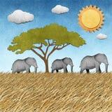 大象被回收的纸背景 库存照片