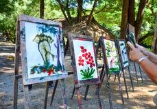 大象绘画在泰国大象的待售显示 免版税图库摄影
