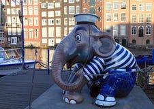 大象水手,阿姆斯特丹雕塑  库存图片
