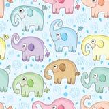 大象水无缝的样式 免版税库存图片