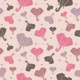 大象 无缝的模式 桃红色 皇族释放例证