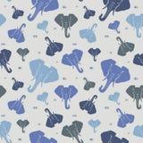 大象 无缝的模式 蓝色 向量例证