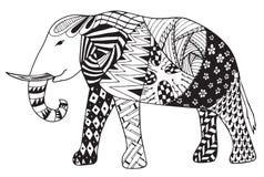 大象zentangle传统化了传染媒介,例证,徒手画的penci 库存图片