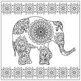 大象zentangle着色页 库存照片