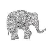 大象zentangle 免版税库存照片