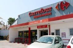 大超级市场道路交叉点在圣托里尼,希腊 免版税库存照片