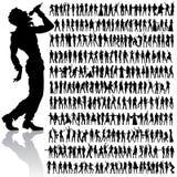大跳舞人员集合唱歌 免版税库存照片