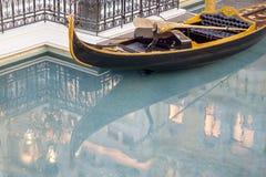 大运河与长平底船的商店水池在las vegass威尼斯式热 库存照片