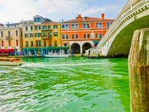 大运河和Rialto桥梁,威尼斯,意大利 库存图片