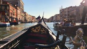 大运河的看法在威尼斯,意大利 长平底船的平底船的船夫 股票录像