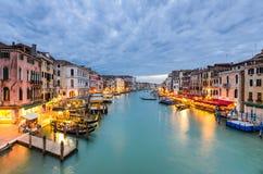 大运河视图在晚上,威尼斯 免版税图库摄影