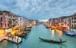 大运河视图在晚上,威尼斯 库存照片