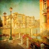 大运河,威尼斯的葡萄酒图象 库存照片