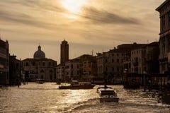 大运河,威尼斯,意大利全景日落的 库存照片