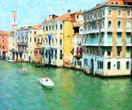 大运河,威尼斯;油画样式 免版税图库摄影