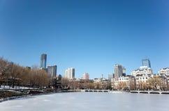 大连都市风景在冬天 免版税库存图片