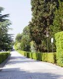 大道在梵蒂冈庭院里2010年9月20日的在梵蒂冈,罗马,意大利 图库摄影