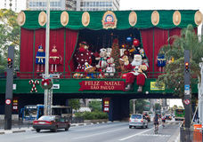 大道巴西圣诞节装饰paulista 免版税库存照片