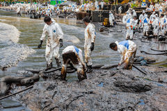 大量工作者设法去除漏油 免版税库存照片