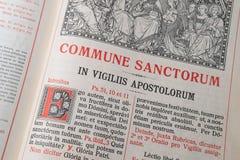 大量礼拜仪式的书定货在拉丁语的-传道者 库存照片