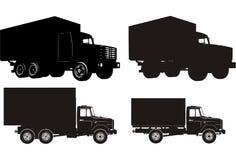 大量集剪影卡车 免版税库存图片