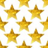 大金属金黄星无缝的背景 免版税库存照片