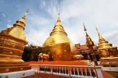 大金黄塔,与大象的Chedi在Wat Phra辛哈, 库存图片