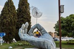大银色棕榈雕象在公园,伊斯法罕,伊朗 免版税库存图片