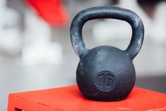 大铸铁十六磅在健身房的重量哑铃 库存照片