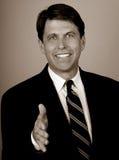大销售人员微笑 免版税库存图片